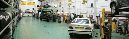 The workshop at Wrexham Tyres and Garage Services
